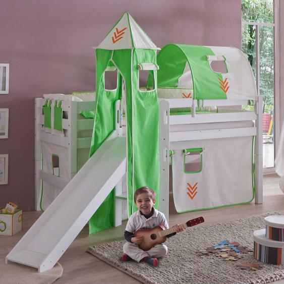 Rutschbett mit Vorhang Grün-Weiß