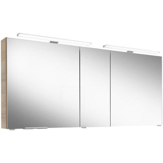 Sadena Spiegelschrank Braun , Glas , Nachbildung , 6 Fächer , 150x70.3x17 cm