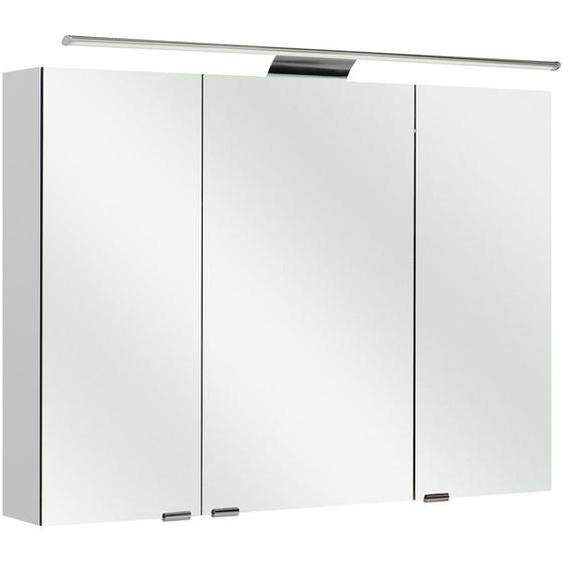 Sadena Spiegelschrank Weiß , Holzwerkstoff , 4 Fächer , 100x70x16 cm