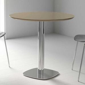 Säulen Esstisch mit runder Glasplatte Taupe Hochglanz