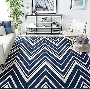 Safavieh Strukturierter Teppich, CAM711, Handgetufteter Wolle, Marineblau/Elfenbein, 152 X 243 cm