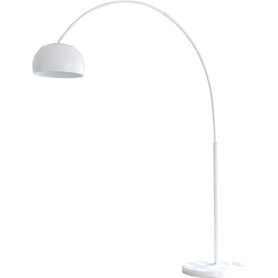 SalesFever Bogenlampe Frieso, E27, 1 St., Dimmschalter, echter Marmorfuß flg., Ø 33 cm Höhe: 195 weiß Bogenlampen Stehleuchten Lampen Leuchten