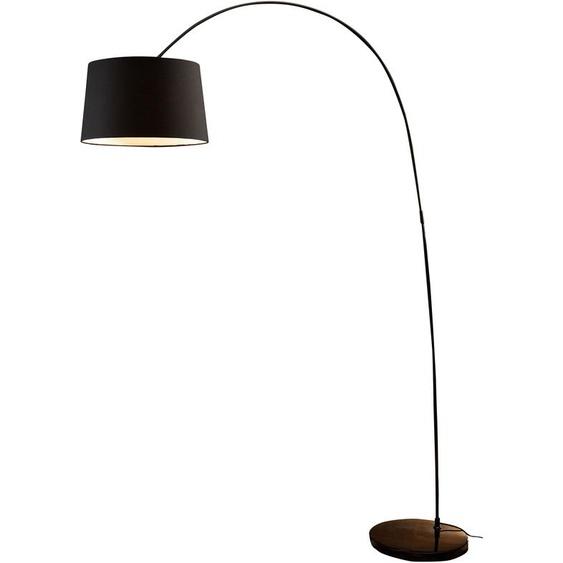 SalesFever Bogenlampe Kaspars, E27, 1 St., mit Dimmschalter, echter Marmorfuß flg., Ø 40 cm Höhe: 205 schwarz Bogenlampen Stehleuchten Lampen Leuchten