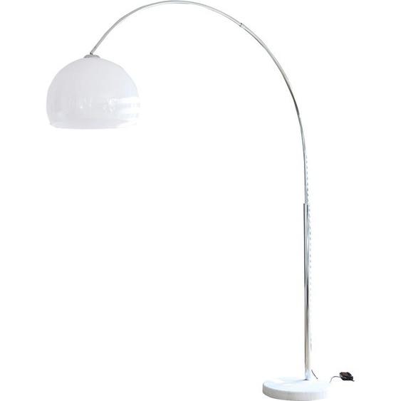 SalesFever Bogenlampe Knud, E27, 1 St., Höhenverstellbar, mit Dimmschalter, echter Marmorfuß flg., Ø 40 cm Höhe: 181 weiß Bogenlampen Stehleuchten Lampen Leuchten