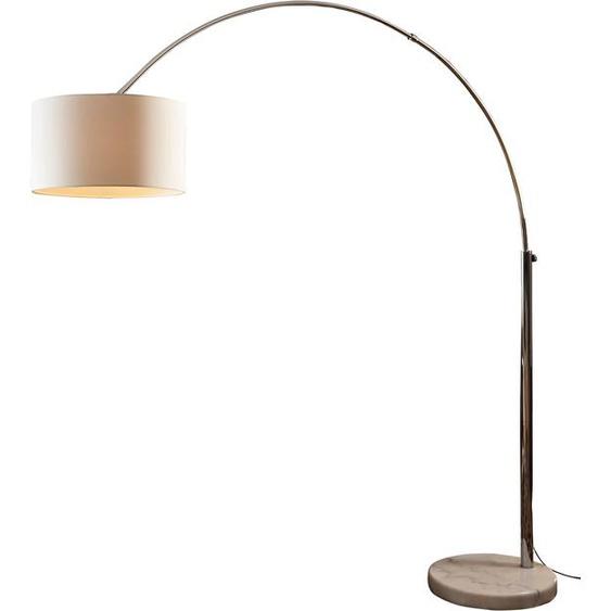 SalesFever Bogenlampe Peteris, E27, 1 St., mit Dimmschalter,echter Marmorfuß flg., Ø 35 cm Höhe: 210 weiß Bogenlampen Stehleuchten Lampen Leuchten