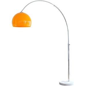 SalesFever Bogenlampe Tammo, E27, 1 St., Höhenverstellbar und mit Dimmschalter, echter Marmorfuß flg., Ø 40 cm Höhe: 181 cm, St. orange Bogenlampen Stehleuchten Lampen Leuchten