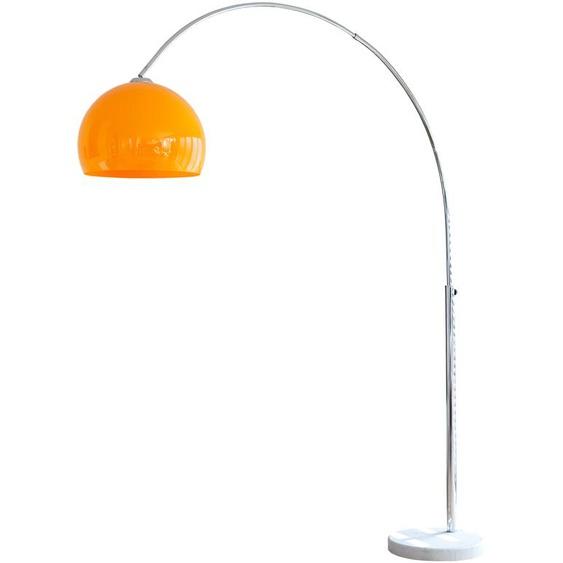 SalesFever Bogenlampe Tammo, E27, 1 St., Höhenverstellbar und mit Dimmschalter, echter Marmorfuß flg., Ø 40 cm Höhe: 181 orange Bogenlampen Stehleuchten Lampen Leuchten