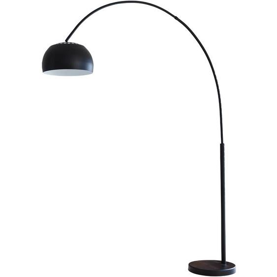 SalesFever Bogenlampe Tinus, E27, 1 St., mit Dimmschalter, echter Marmorfuß flg., Ø 33 cm Höhe: 195 schwarz Bogenlampen Stehleuchten Lampen Leuchten