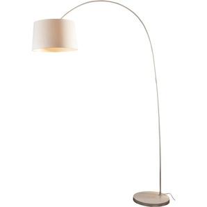 SalesFever Bogenlampe Valdis, E27, 1 St., mit Dimmschalter, echter Marmorfuß flg., Ø 40 cm Höhe: 205 cm, St. weiß Bogenlampen Stehleuchten Lampen Leuchten
