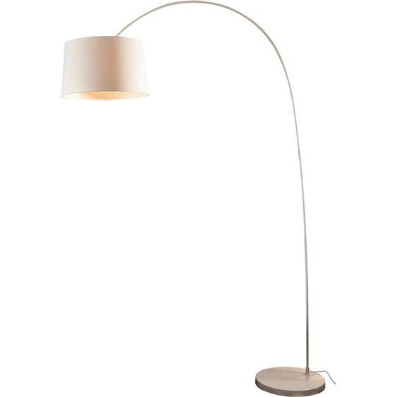 SalesFever Bogenlampe Valdis, E27, 1 St., mit Dimmschalter, echter Marmorfuß flg., Ø 40 cm Höhe: 205 weiß Bogenlampen Stehleuchten Lampen Leuchten