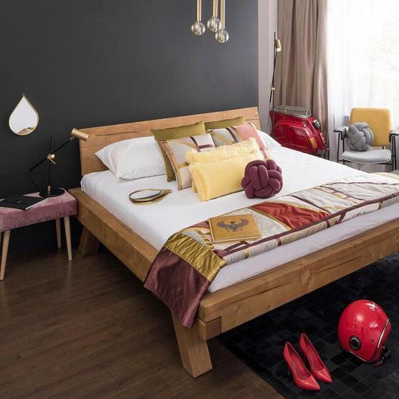 SalesFever Massivholzbett Eik 140x200 cm, ohne Matratze, cm beige Massivholzbetten Betten