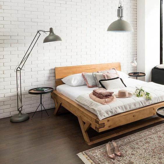 SalesFever Massivholzbett Eik 180x200 cm, Liegefläche B/L: 180 cm x 200 Gewicht beige Massivholzbetten Betten
