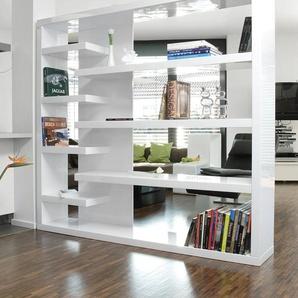 SalesFever Raumteilerregal B/H/T: 200 cm x 35 cm, 4 weiß Raumteiler Regale