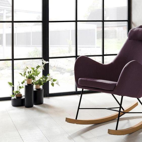 SalesFever Schaukelsessel, inklusive Nackenkissen Webstoff, Wippfunktion, B/H/T: 70 cm x 99 100 lila Weitere Sessel Wohnzimmer Schaukelsessel