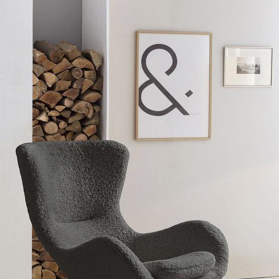 SalesFever Schaukelsessel, mit Bezug in Teddyfell Optik Stoff, Wippfunktion, B/H/T: 75 cm x 106 102 grau Weitere Sessel Wohnzimmer Schaukelsessel