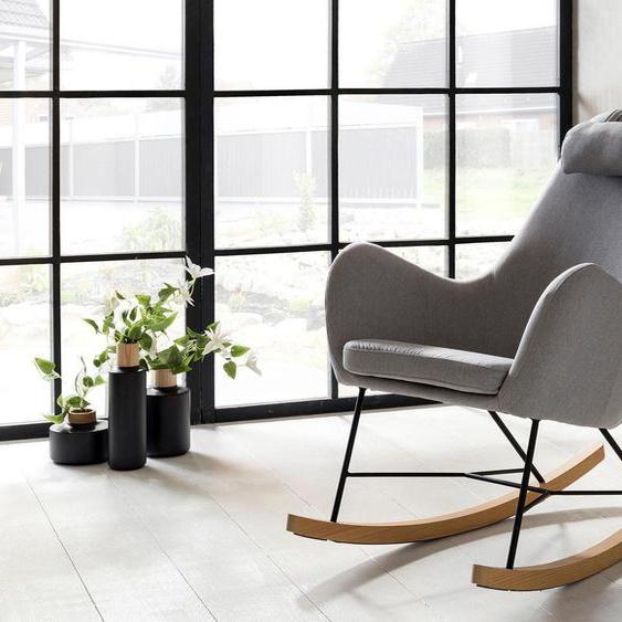 SalesFever Schaukelsessel Webstoff grau Weitere Sessel Wohnzimmer