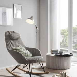 SalesFever Schaukelstuhl, Bezug in moderner Cord-Optik B/H/T: 102 cm x 109 66 cm, Strukturstoff-Polyester Strukturoptik-uni grau Schaukelstühle Stühle Sitzbänke Schaukelstuhl