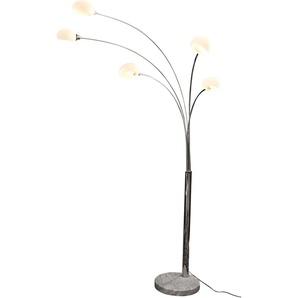 SalesFever Stehlampe Noa, E14, 1 St., 5 bewegliche Arme mit Glasschirm, Dimmschalter, echter Marmorfuß flg., Höhe: 210 cm, St. silberfarben Bogenlampen Stehleuchten Lampen Leuchten