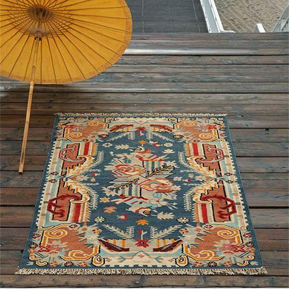 Samarkand-Teppich blau - bunt - 80 % Wolle, 20 % Baumwolle - Teppiche