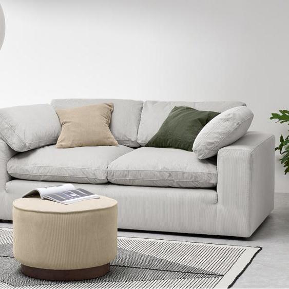 Samona 2,5-Sitzer Sofa, Kordsamt in Steingrau