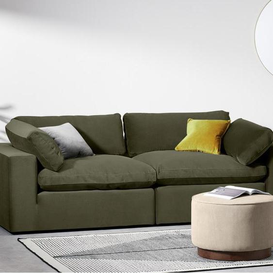 Samona 3-Sitzer Sofa, Samt in Pistaziengruen