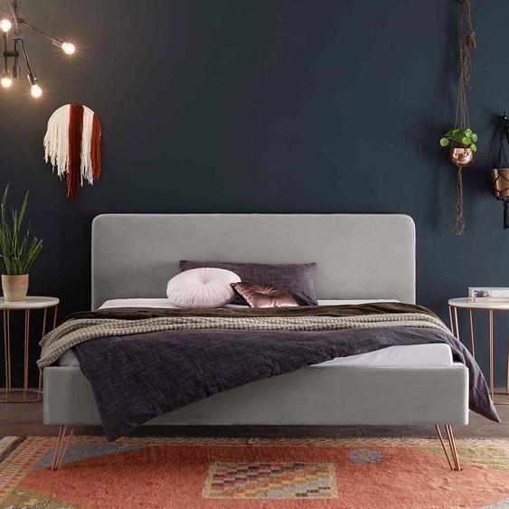Samt Bett in Hellgrau 20 cm Bodenfreiheit