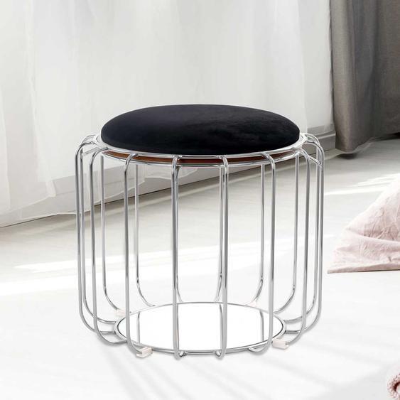 Samt Hocker in Schwarz und Silberfarben wendbarer Sitzfläche