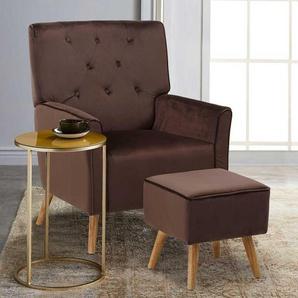 Samt Sessel in Braun Retro Design (2-teilig)