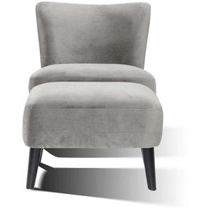 Samt Sessel mit Fu�hocker Grau (2-teilig)