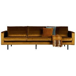 Samt Sofa in Honigfarben Retrostil