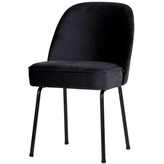 Samt Stühle im Retro Design Blauschwarz (2er Set)