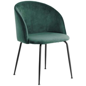 Samt Stühle in Dunkelgrün Retro Design (2er Set)