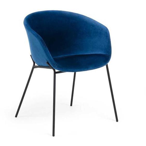 Samt Stuhl in Blau Armlehnen