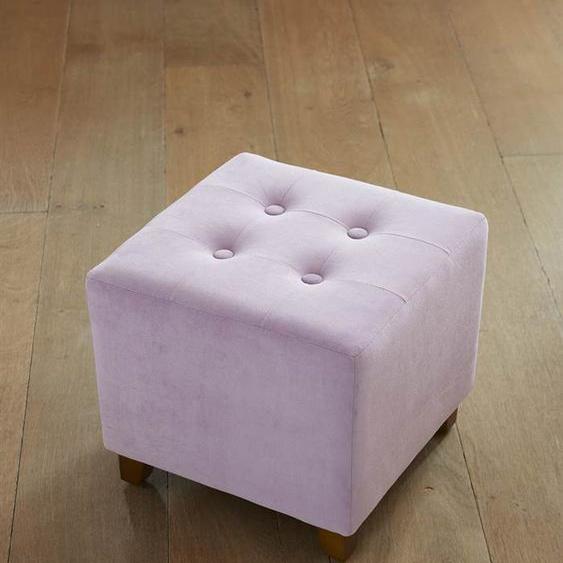 Samthocker Quadrat - Flieder - Bezug: gepolsterter Polyester-Samt, Gestell & Füße: Holz - Tischwäsche