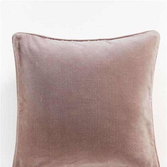 Samtkissenhülle braun-rosa - bunt - 100 % Baumwolle - Zierkissen & Polsterrollen  Zierkissen - Kissenbezüge