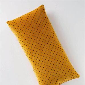 Samtkissenhülle mit braunen Punkten - bunt - 100 % Baumwolle - Zierkissen & Polsterrollen  Zierkissen - Kissenbezüge