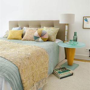 Samtquilt Aqua - bunt - 100 % Baumwolle - Tagesdecken & Quilts - Überwürfe & Sofaüberwürfe