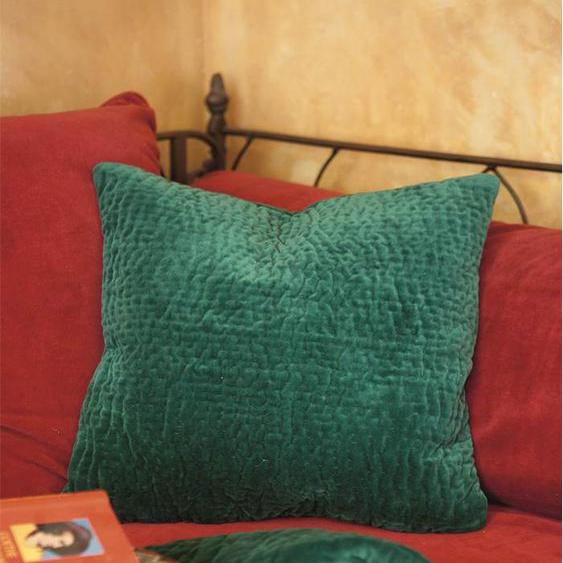 Samtquiltkissenhülle grün - bunt - 100 % Baumwolle - Zierkissen & Polsterrollen  Zierkissen - Kissenbezüge