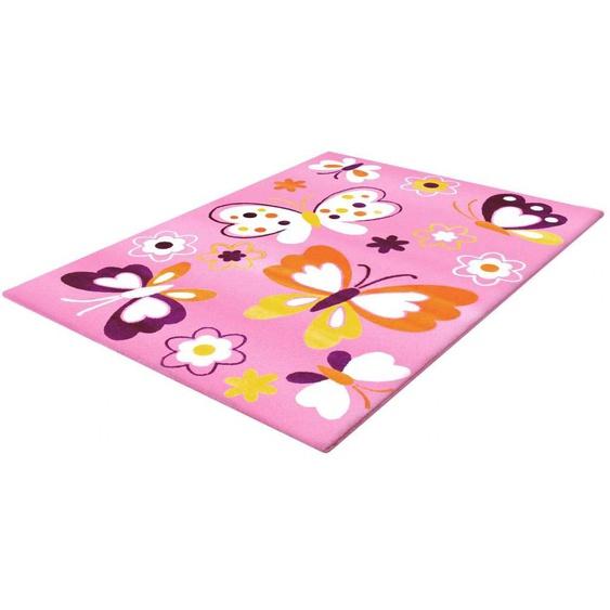 Sanat Kinderteppich Bambino 2102, rechteckig, 11 mm Höhe, Schmetterlinge, Kurzflor 2, 80x150 cm, rosa Kinder Kinderteppiche mit Motiv Teppiche
