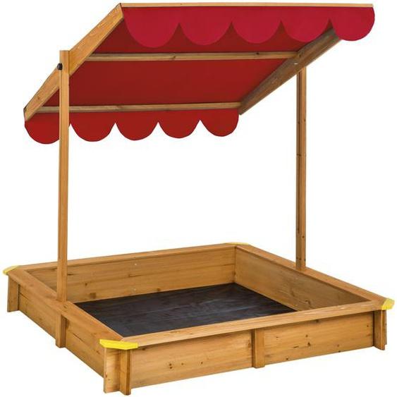 Sandkasten mit verstellbarem Dach - rot