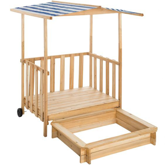 Sandkasten und Spielveranda mit Dach Gretchen - blau