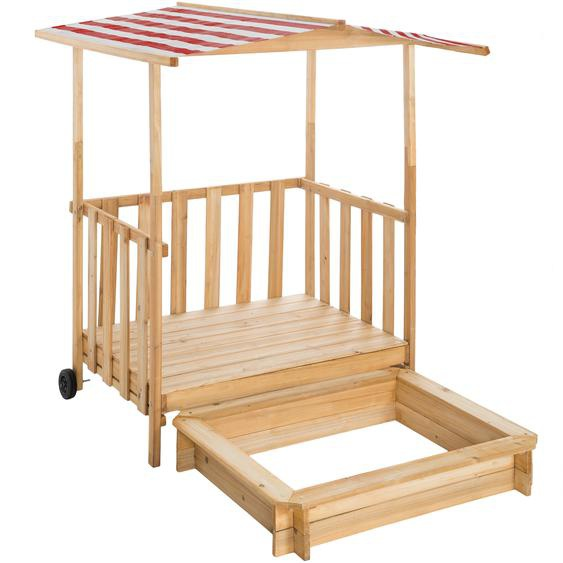 Sandkasten und Spielveranda mit Dach Gretchen - rot