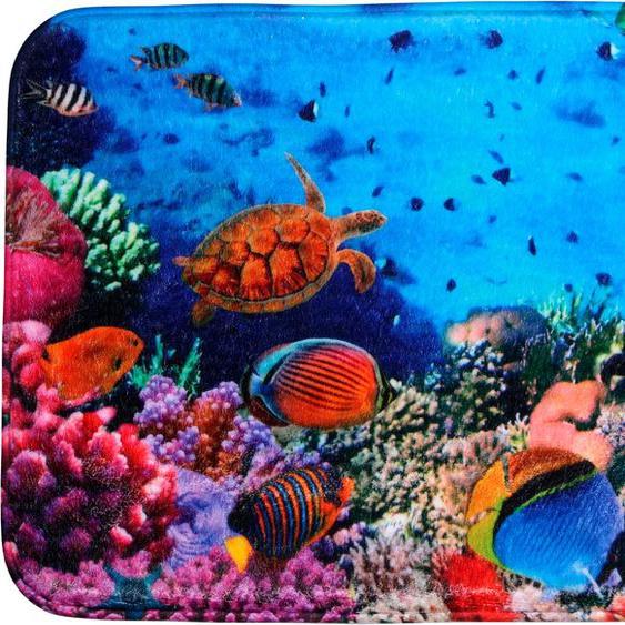 Sanilo Badematte Ocean, Höhe 15 mm, schnell trocknend, Memory Schaum rechteckig (70 cm x 110 cm), 1 St. bunt Gemusterte Badematten