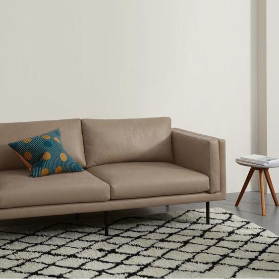 Savio 2-Sitzer Sofa, Leder in dunklem Graubraun