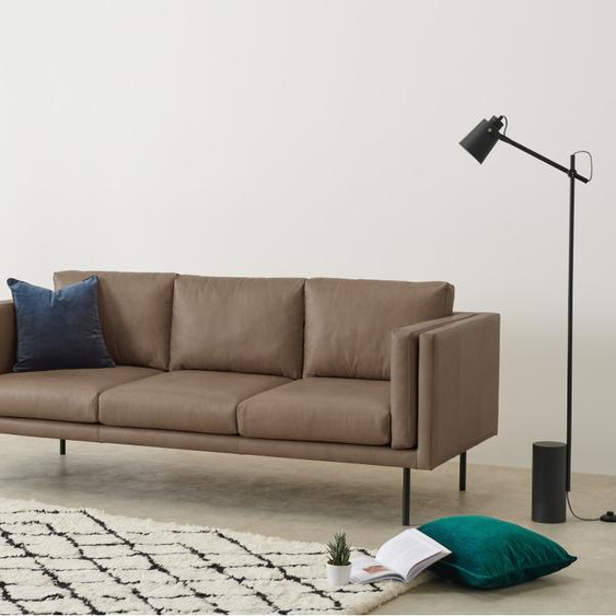 Savio 3-Sitzer Sofa, Leder in dunklem Graubraun