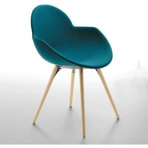 Schalensitz Stuhl in Petrol aus Webstoff mit Armlehnen