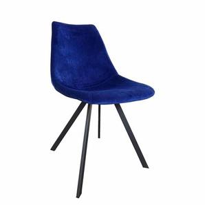 Schalenstuhl Set in Blau Samt Stoff Stahl Schwarz (2er Set)