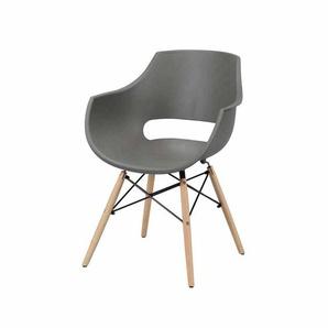Schalenstuhl Set mit Armlehnen Grau Kunststoff (4er Set)