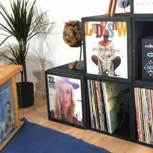 Schallplattenkiste mit Cover-Deckel und Griffen - Stapelbar zum Regal - Braun