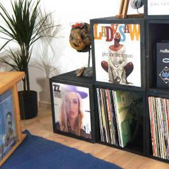 Schallplattenkiste mit Cover-Deckel und Griffen - Stapelbar zum Regal - Schwarz